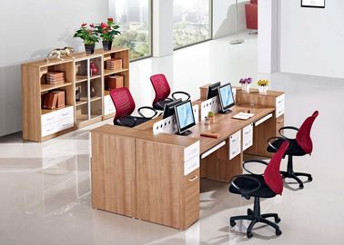 Modular Melamin Office Furniture Staf Cluster Desk 25mm Tebal Meja
